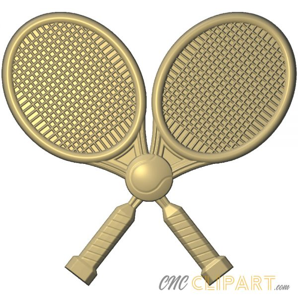 A 3D Relief Model of two crossed Tennis Rackets and a Tennis Ball
