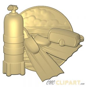 A 3D relief model of a diving scene with tank, flippers tank