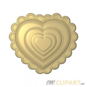 A 3D Relief Model of a decorative Heart