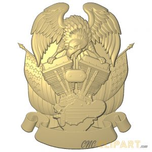 A 3D Relief Model of an Eagle on top of an engine, with banner space to add your own custom text