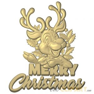 A 3D Relief Model of a Merry Christmas Reindeer Sign