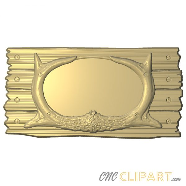 A 3D Relief Model of a blank Antler Frame with space to customize with your own design