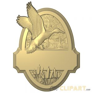 A 3D Relief Model of a Duck Sign Template with space to add your own custom design