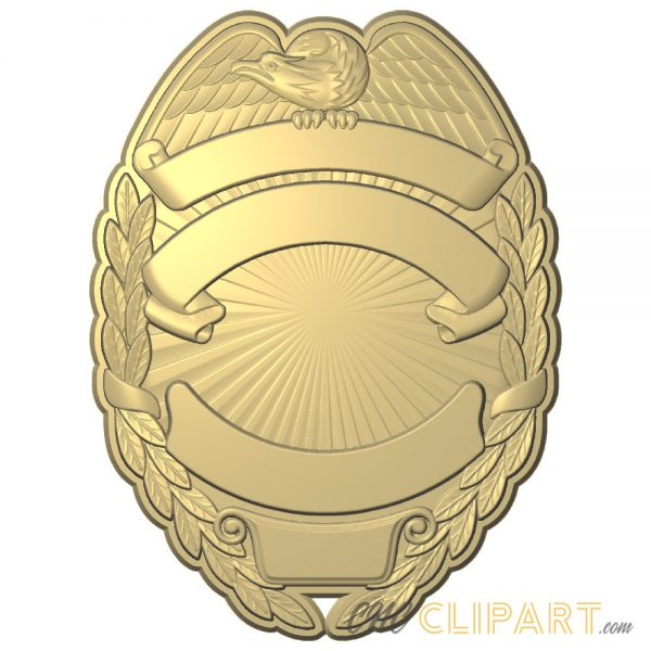 A 3D Relief Model of a Badge template with space to customize with your own text