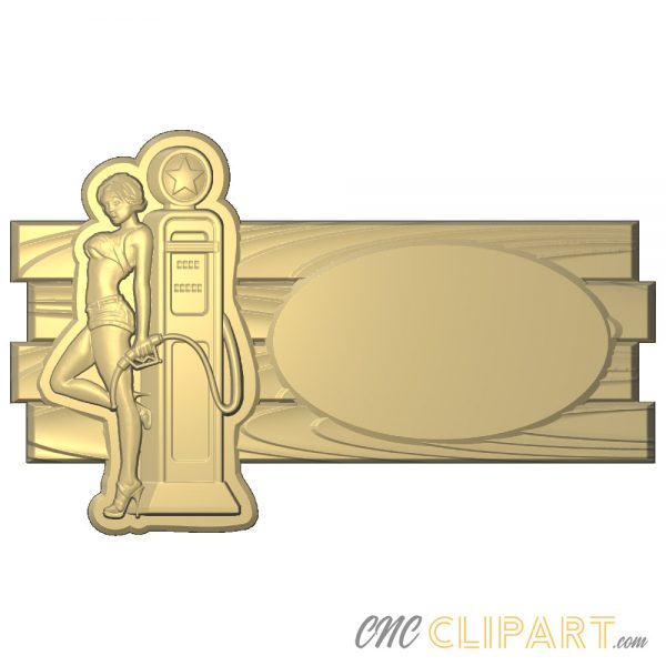 A 3D Relief Model of a Gasoline filling pump with seductive woman and space to customize with your own text