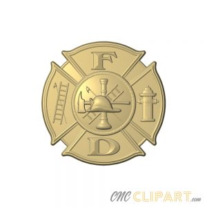 A 3D Relief Model of fire department sign with many firefighting elements
