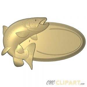 A 3D Relief Model of Fishing themed oval sign base with blank space to add your own custom text