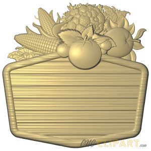 A 3D Relief Model of Harvest themed sign base with empty space to customize with your own designs