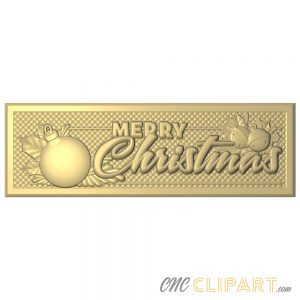 A framed 3D Relief Model of a Merry Christmas sign