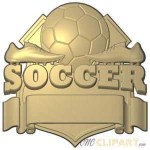A 3D Relief Model of a Soccer Team Sign featuring an empty banner for you to add your own custom text