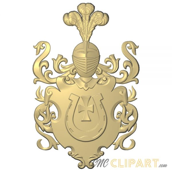 A 3D Relief Model of a Coat of Arms with a Horseshoe emblem