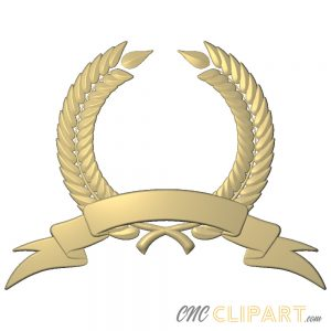A 3D Relief Model of a Laurel Wreath and Banner