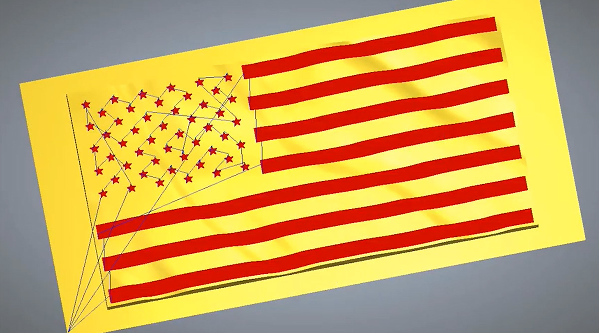 Wavy flag design in Carveco Maker Plus