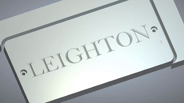 Machining simulation of Leighton plaque